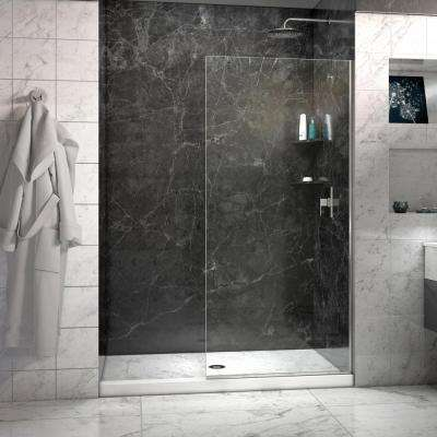 Linea 30 in. x 72 in. Semi-Framed Fixed Shower Door in Brushed Nickel