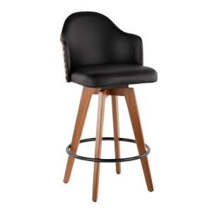 Cool Lumisource Ahoy 26 In Walnut And Black Faux Leather Counter Uwap Interior Chair Design Uwaporg