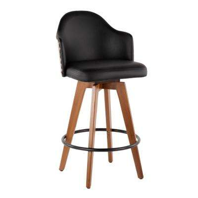 Ahoy 26 in. Walnut and Black Faux Leather Counter Stool with Nailhead Trim