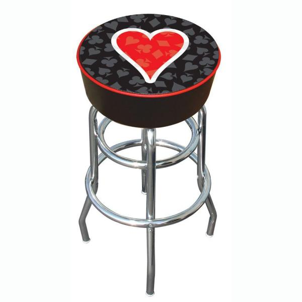 Four Aces Heart 31 in. Chrome Swivel Cushioned Bar Stool