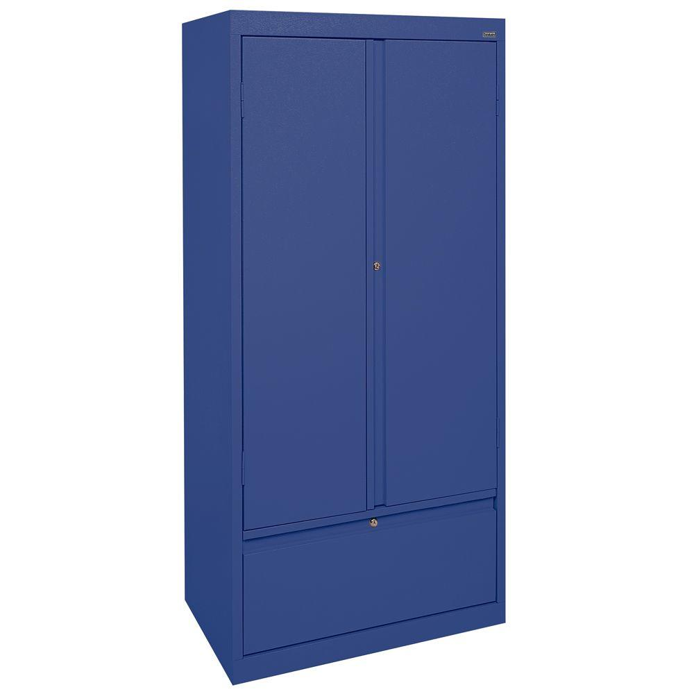 Sandusky Systems Series 30 in. W x 64 in. H x 18 in. D Storage Cabinet with File Drawer in Blue