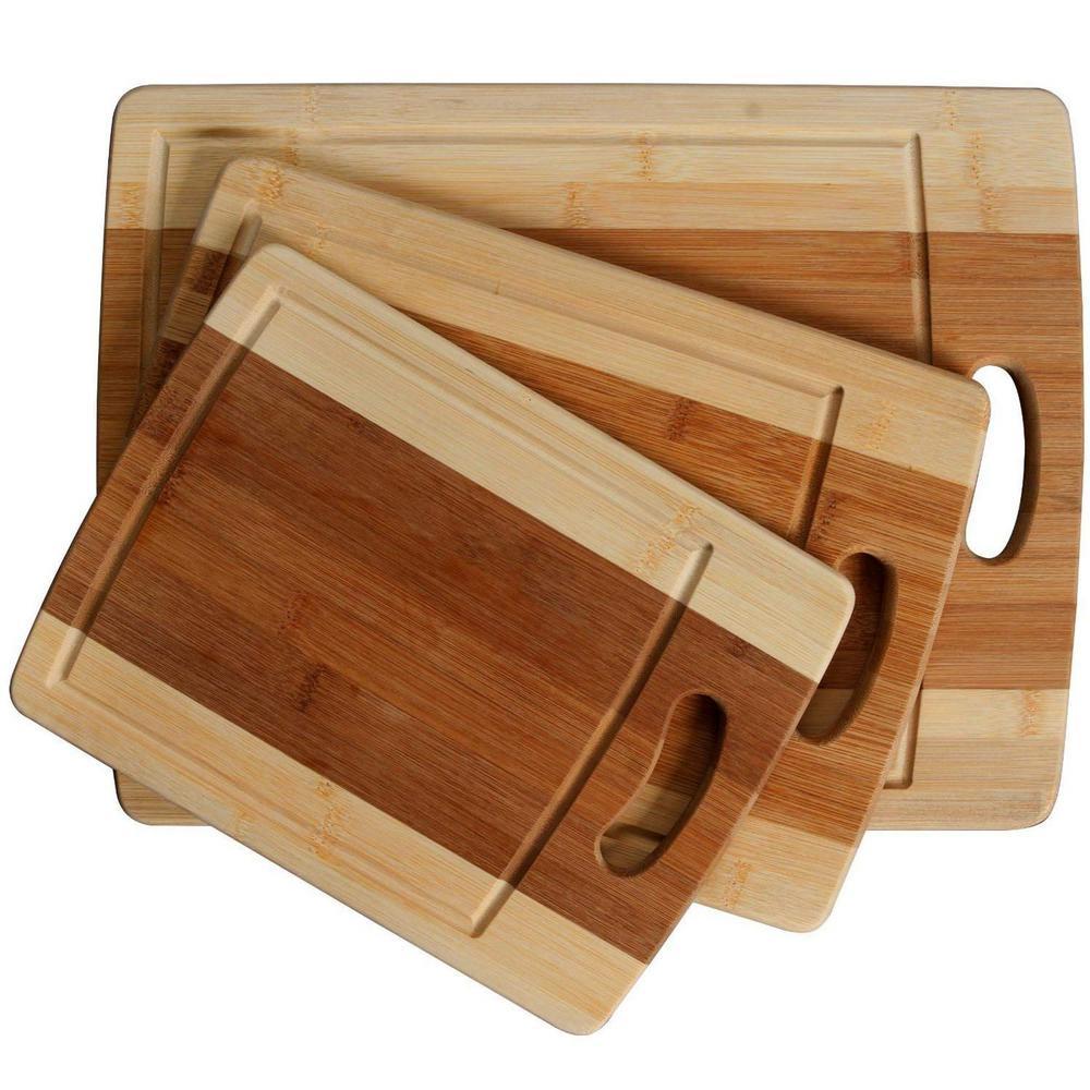 Classic 3-Piece Organic Bamboo Cutting Board Set with Drip Groove