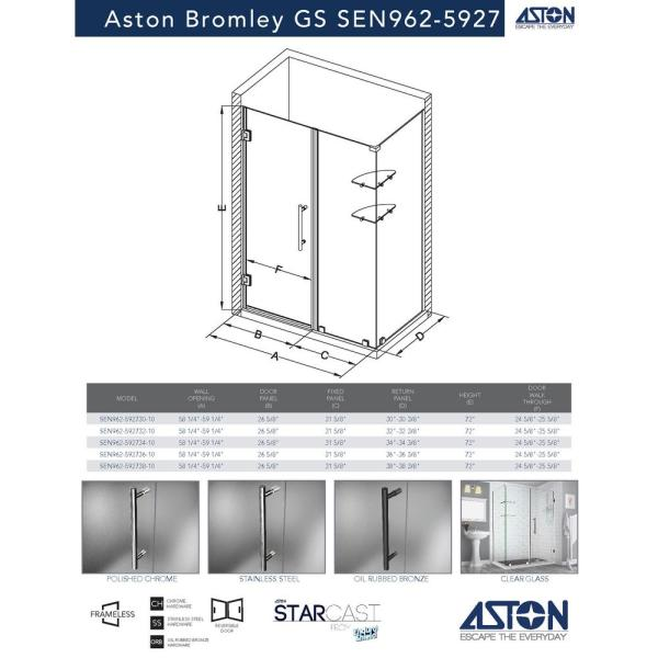 Aston Bromley Gs 58 25 In To 59 25 In X 38 375 In X 72 In Frameless Corner Hinged Shower Door With Glass Shelves In Bronze Sen962ez Nbr 592738 10 The Home Depot