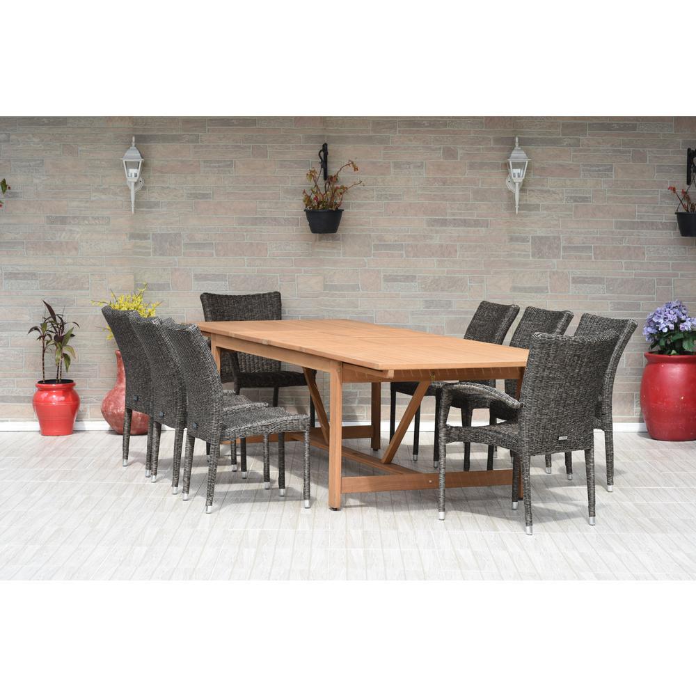 Atlantis 9-Piece Wood/Wicker Rectangular Patio Dining Set