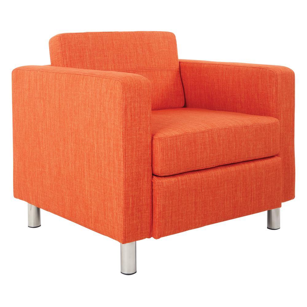 Tangerine Orange Fabric Accent Chair