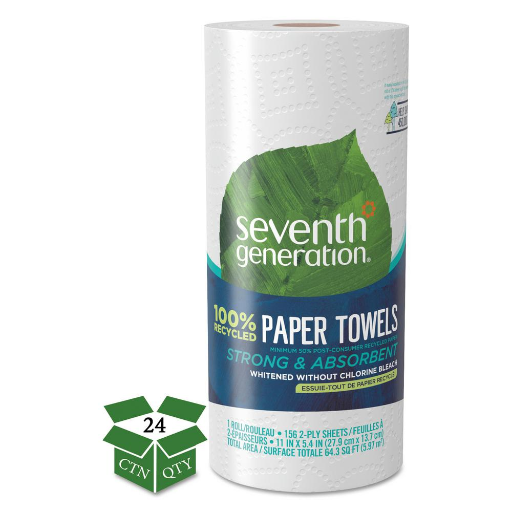 100% Recycled Paper Towel Rolls, 2-Ply, 11 x 5.4 Sheets, 156
