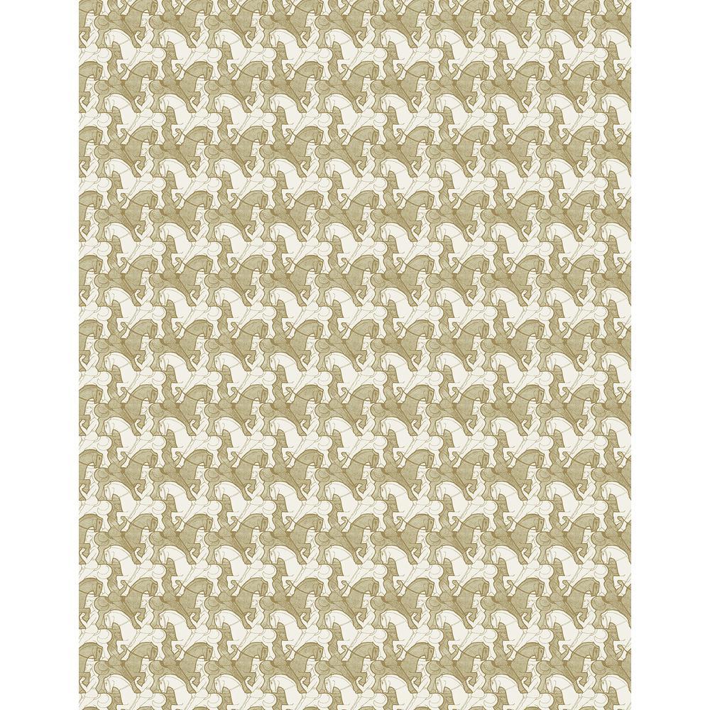 Trixie Beige Horsemen Wallpaper Sample