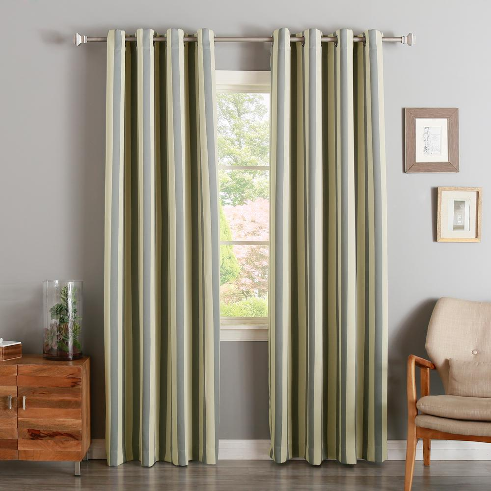 Best Home Fashion 63 In L Room Darkening Vertical Stripe Curtain Panel Biscuit And Grey 2 Pack