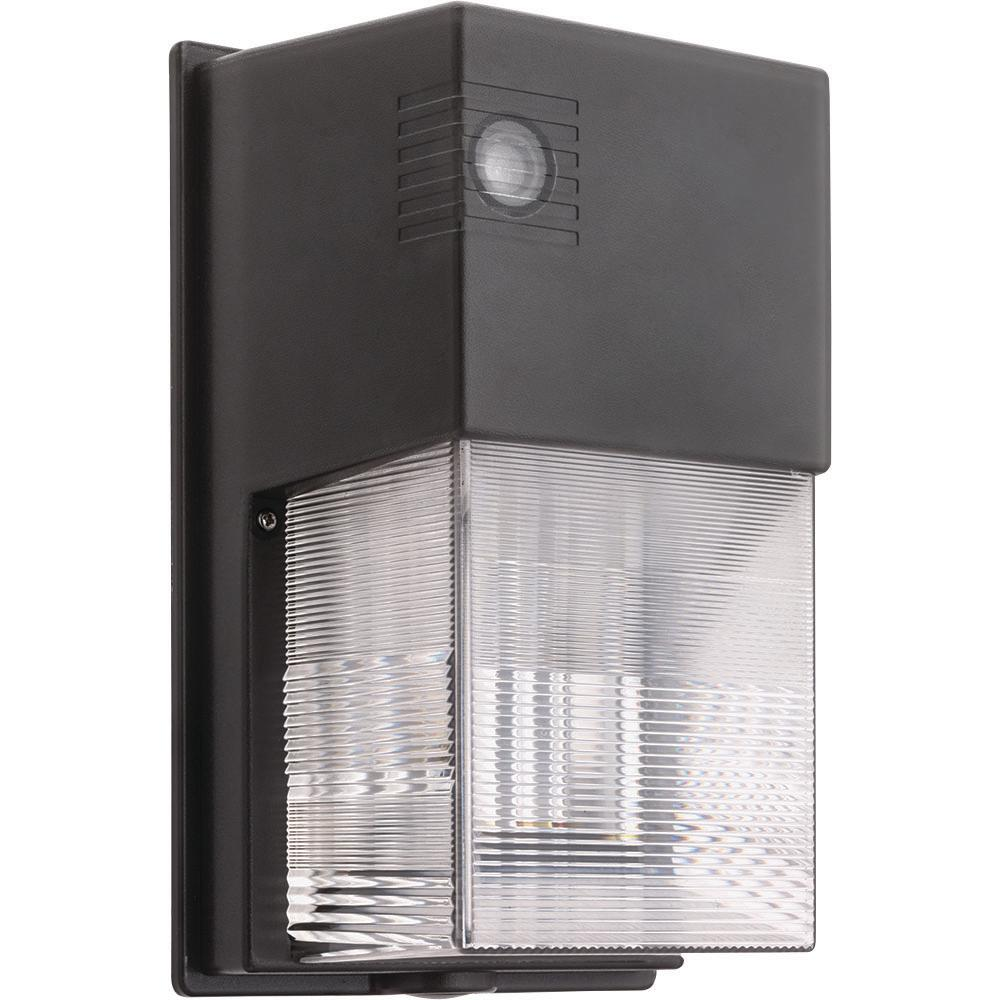 Led Photocell Wall Light : Lithonia Lighting Bronze Outdoor Integrated LED 5000K Wall Pack Light with Dusk to Dawn ...
