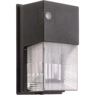 Bronze Outdoor Integrated LED 5000K Wall Pack Light with Dusk to Dawn Photocell