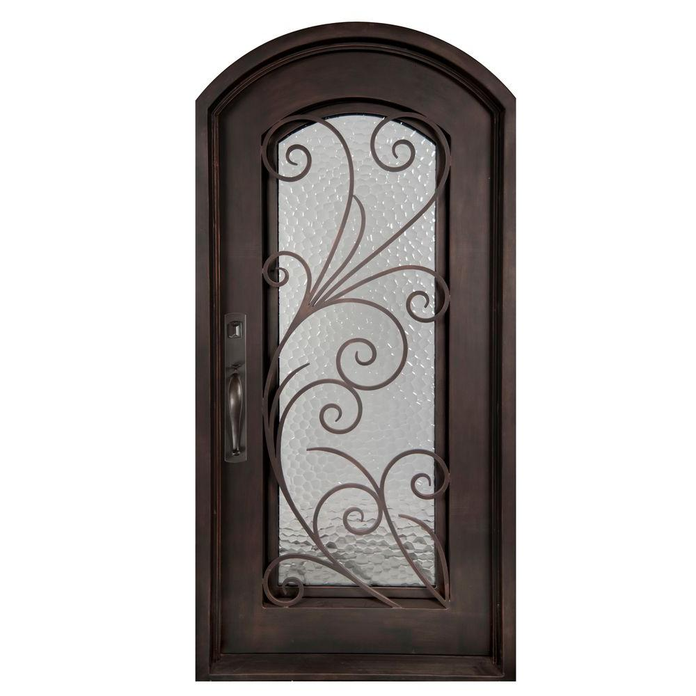 Iron Doors Unlimited 40 In. X 97.5 In. Flusso Full Lite Painted Oil Rubbed