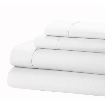 Jill Morgan Fashion 4-Piece Solid White Queen Sheet Set