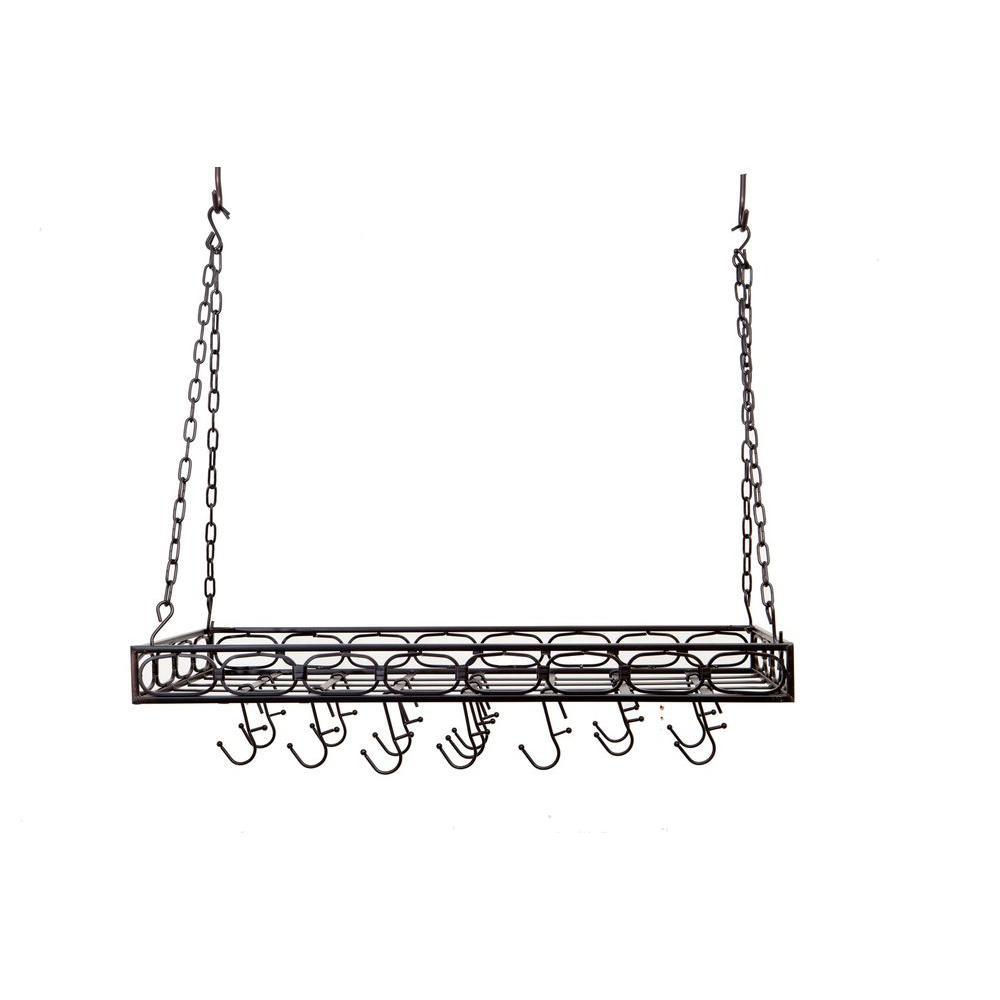 36 in. x 17.75 in. x 3.75 in. Matte Black Medium Gauge Rectangular Hanging Pot Rack with 16 Hooks