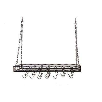 36 in. x 17.75 in. x 3.75 in. Matte Black Medium Gauge Rectangular Hanging Pot Rack with 16 Hooks