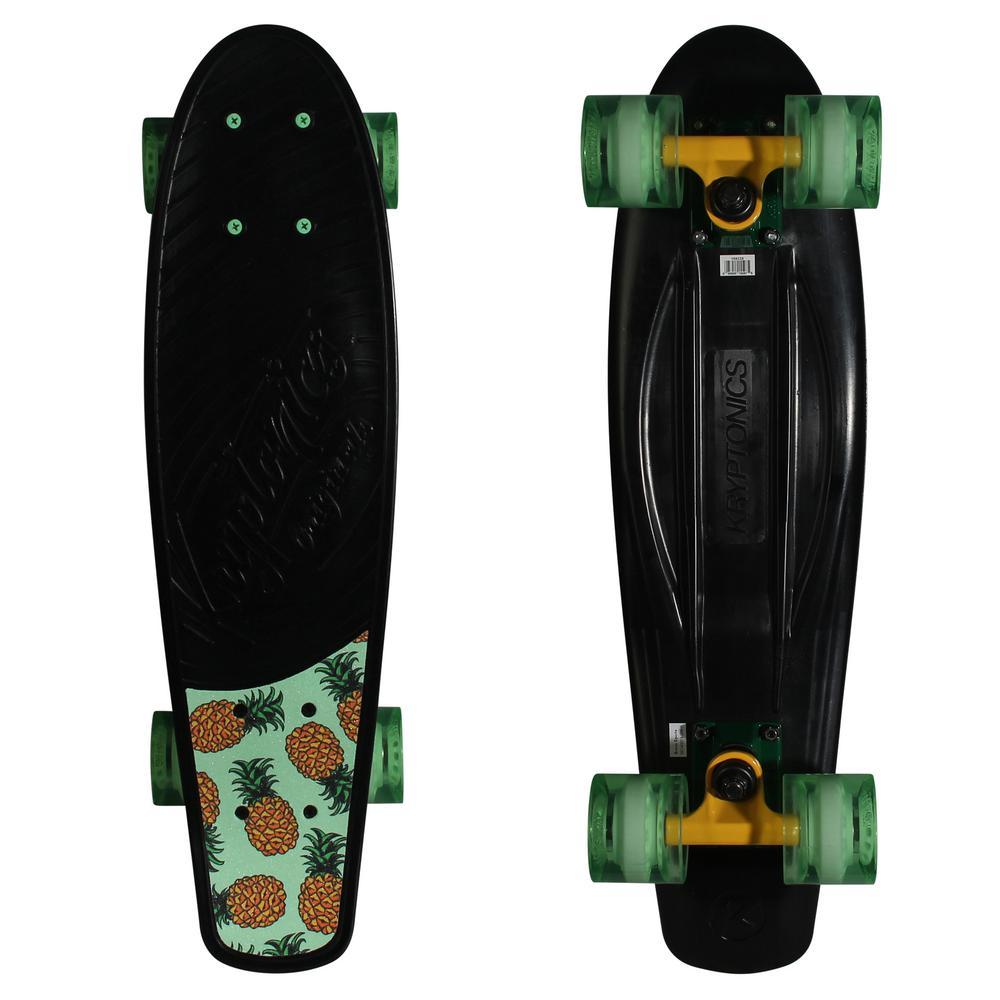 22.5 in. Black Pineapples Skateboard