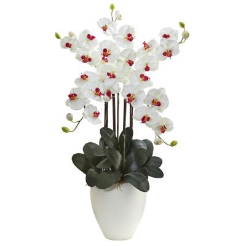 Giant Phalaenopsis Orchid Silk Arrangement in White