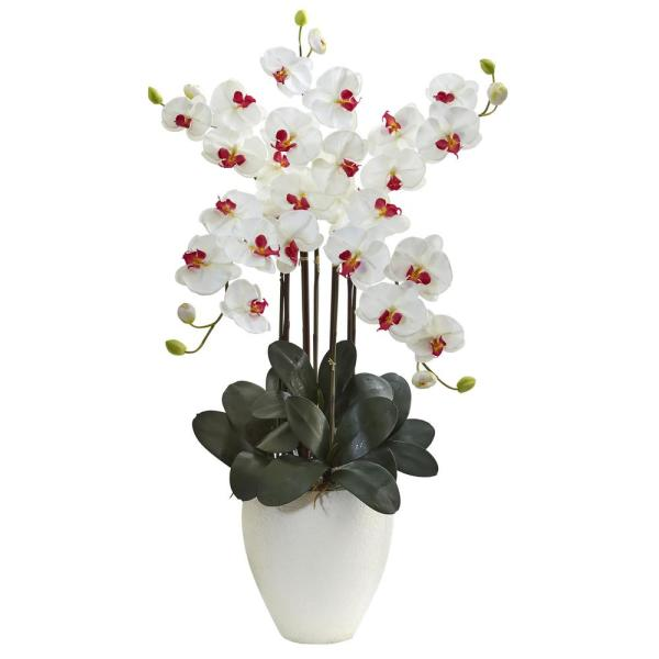 Nearly Natural Giant Phalaenopsis Orchid Silk Arrangement in White