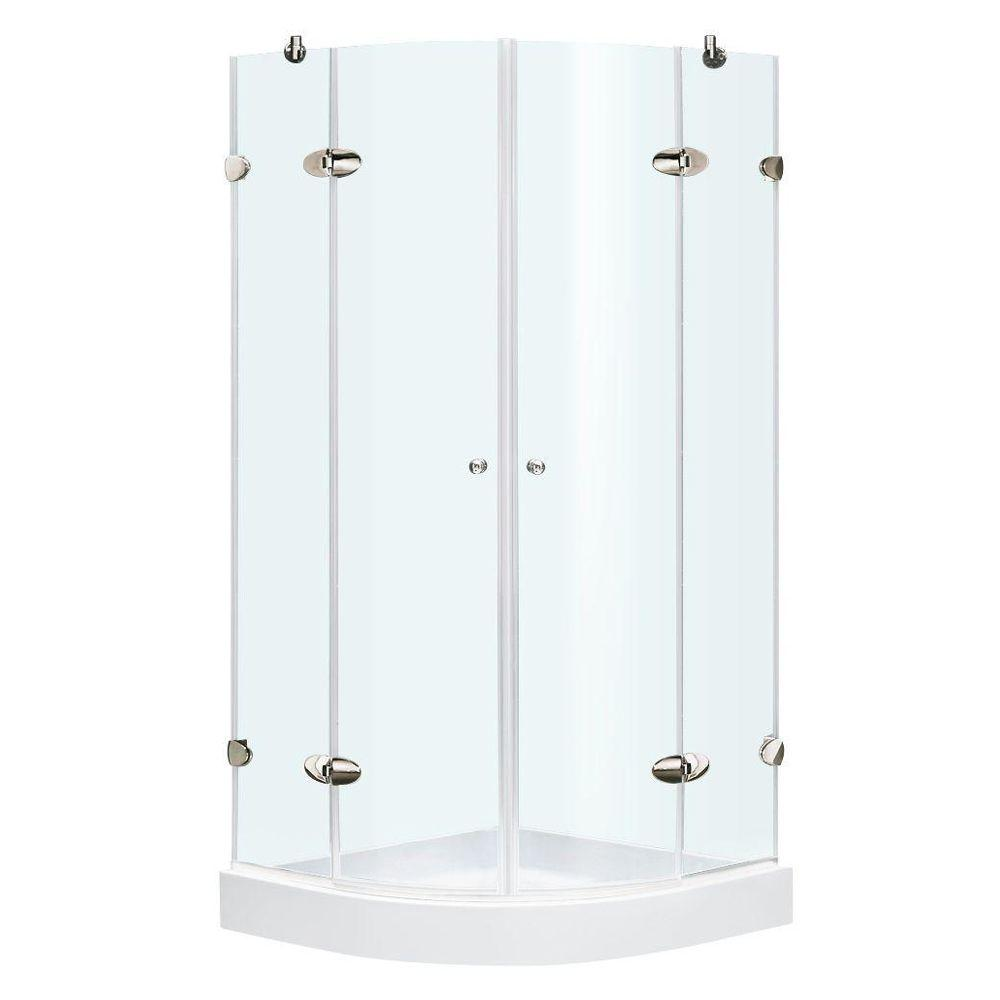 Vigo 36 in. x 78 in. Frameless Neo-Round Shower Enclosure in Chrome with Clear Glass and Base