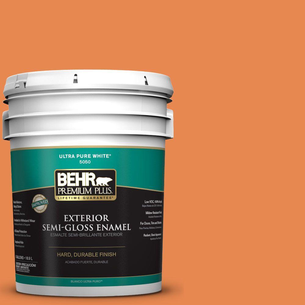 BEHR Premium Plus 5-gal. #P210-6 Mandarin Semi-Gloss Enamel Exterior Paint