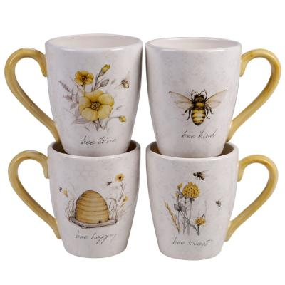 Bee Sweet 4-Piece Seasonal Multicolored Earthenware 22 oz. Mug Set (Service for 4)