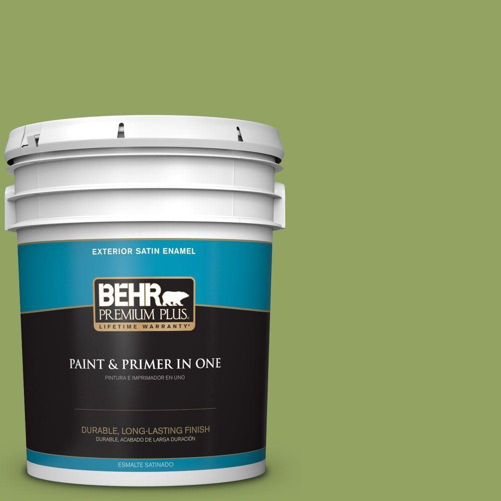 BEHR Premium Plus 5-gal. #HDC-MD-15 Zesty Apple Satin Enamel Exterior Paint