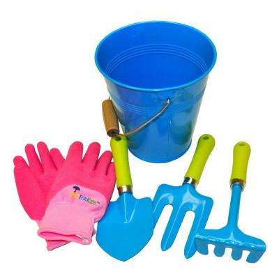 JustForKids Blue Water Pail with Tool Set and Glove