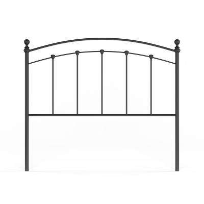 Sanford Queen-Size Metal Headboard with Castings and Round Finial Posts in Matte Black