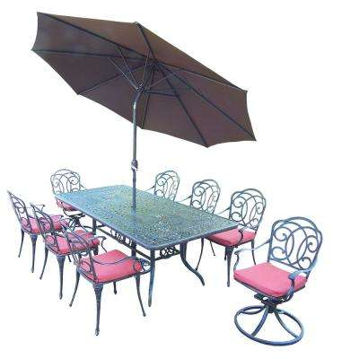 11-Piece Aluminum Outdoor Dining Set with Red Cushions and Brown Umbrella