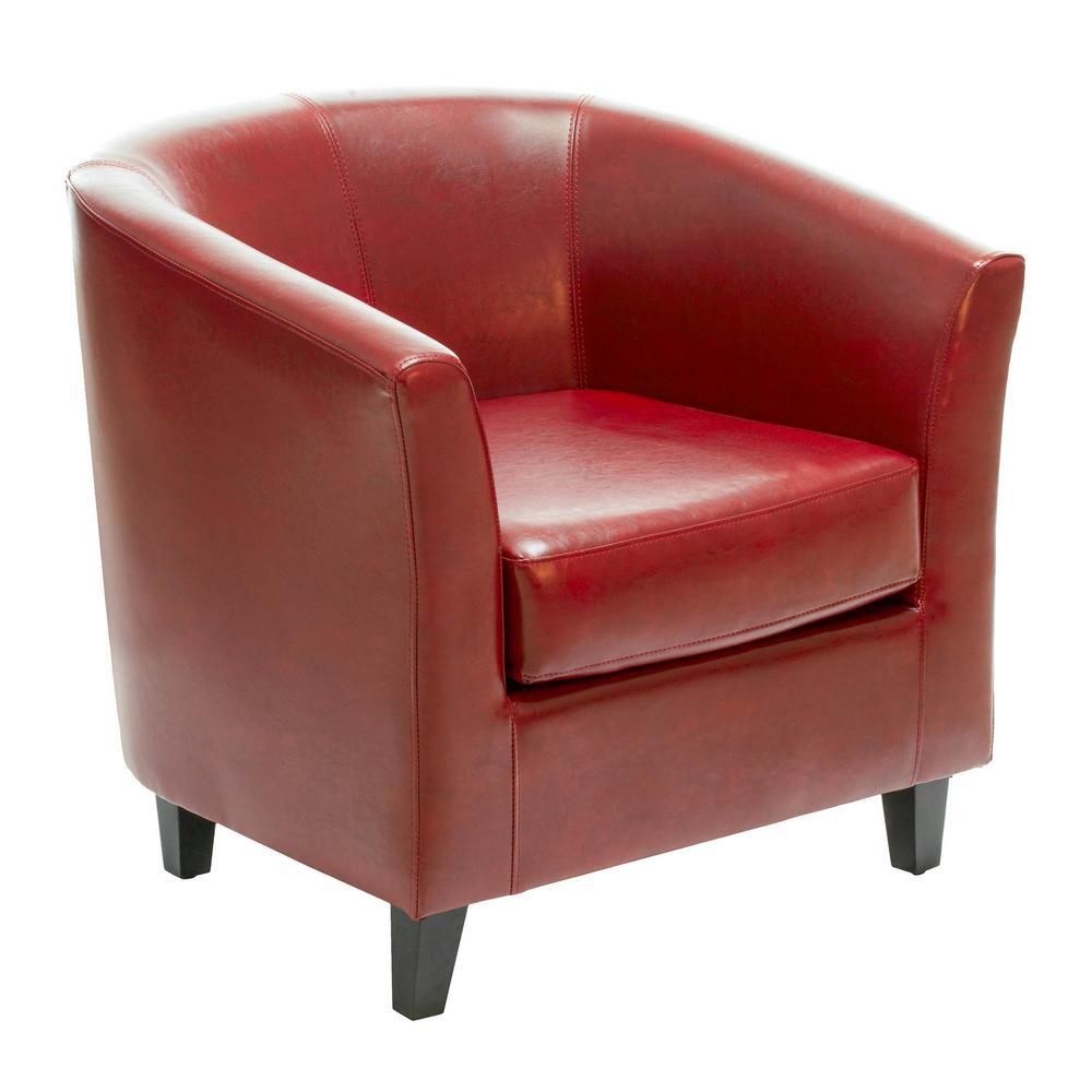 Preston Oxblood Red Bonded Leather Tub Club Chair
