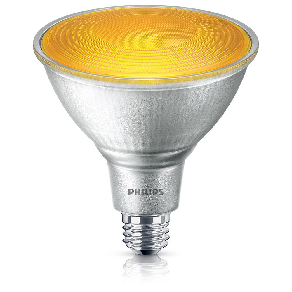 Yellow led bulbs light bulbs the home depot 90 watt equivalent par38 led flood yellow aloadofball Images