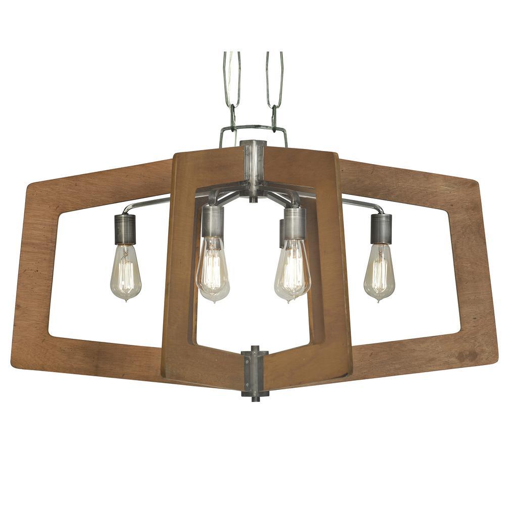 Lofty 6-Light Wheat and Steel Oval Linear Pendant