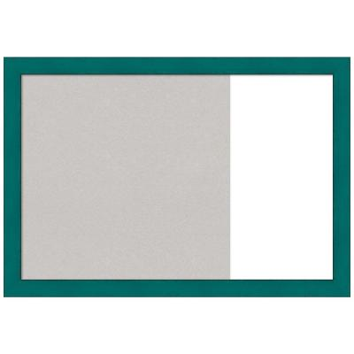 French Teal Rustic 29 in. x 20 in. Grey Cork and White Dry Erase Wood Combo Memo Board