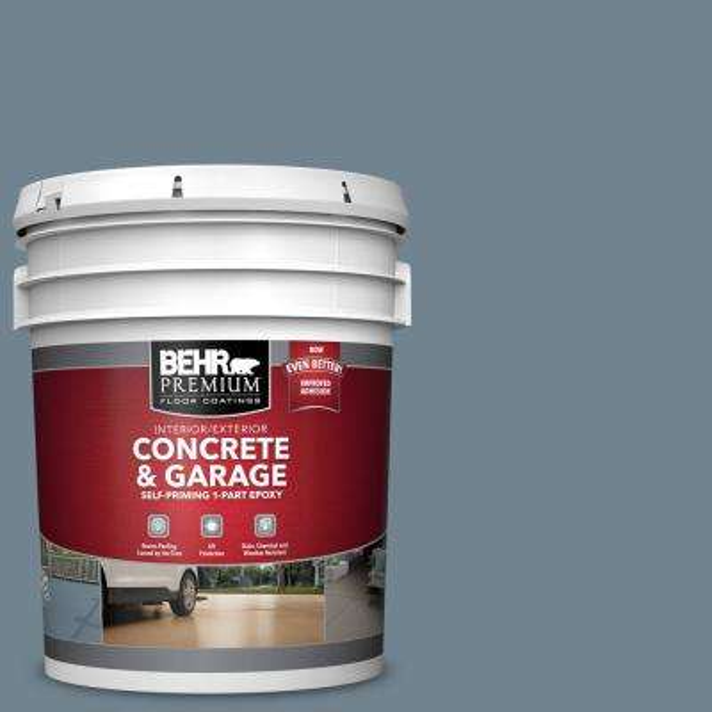 5 gal. #N480-5 Adirondack Blue Self-Priming 1-Part Epoxy Satin Interior/Exterior Concrete and Garage Floor Paint