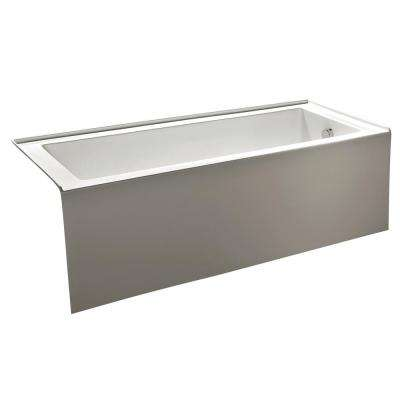 Contemporary 5 ft. Acrylic Right Hand Drain Rectangular Alcove Non-Whirlpool Bathtub in White