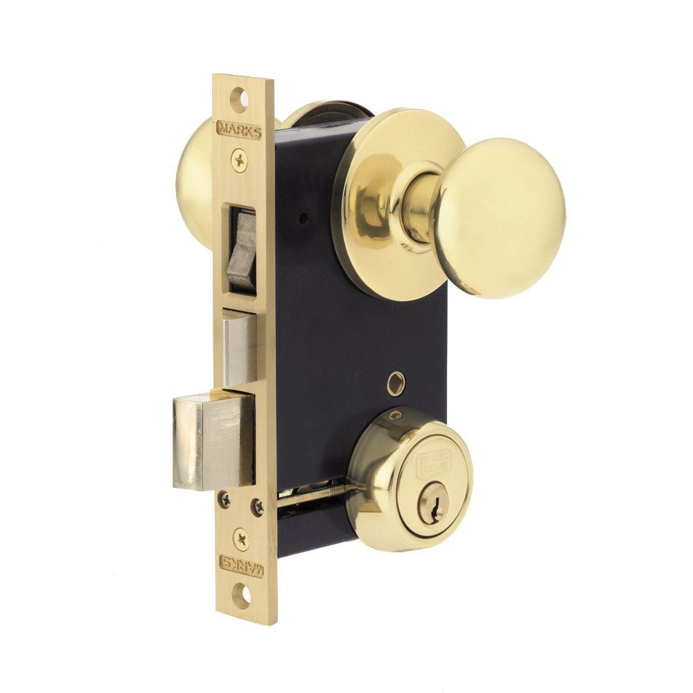 Marks usa polished brass entry knob with double cylinder - Exterior door knob with deadbolt ...