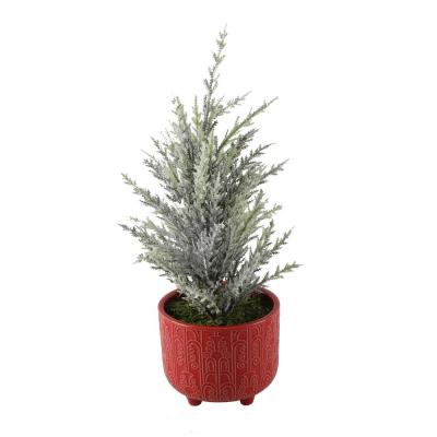 14 in. Artificial Faux Chiristmas Tree in 4.5 in. Vintage Footed Pot