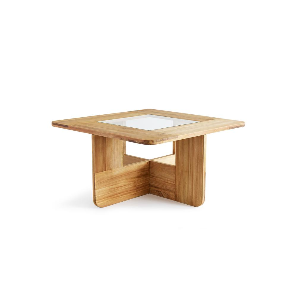 Design Ideas Lyndon Natural Teak Wood And Gl Coffee Table
