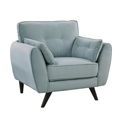 Effy Light Teal Flannelette Tufted Accent Chair
