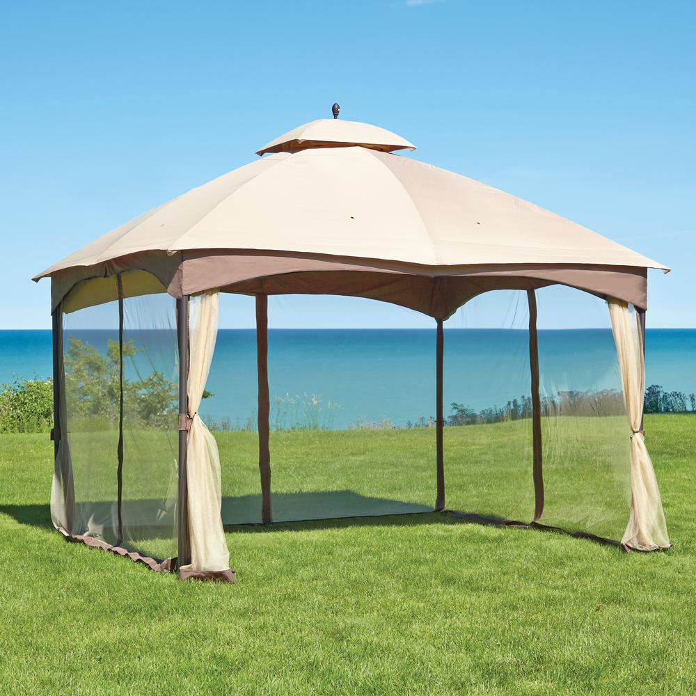Hampton Bay Massillon 10 Ft X 12 Ft Double Roof Gazebo L