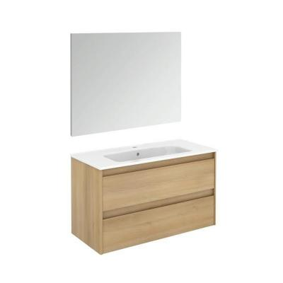 Ambra 39.8 in. W x 18.1 in. D x 22.3 in. H Complete Bathroom Vanity Unit in Nordic Oak with Mirror