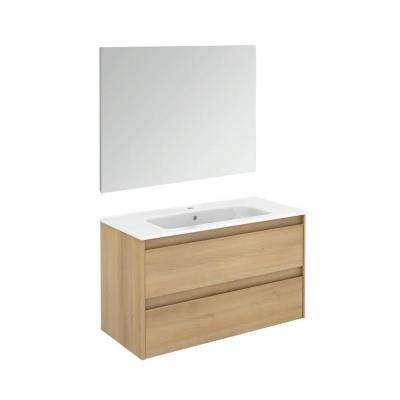 39.8 in. W x 18.1 in. D x 22.3 in. H Complete Bathroom Vanity Unit in Nordic Oak with Mirror