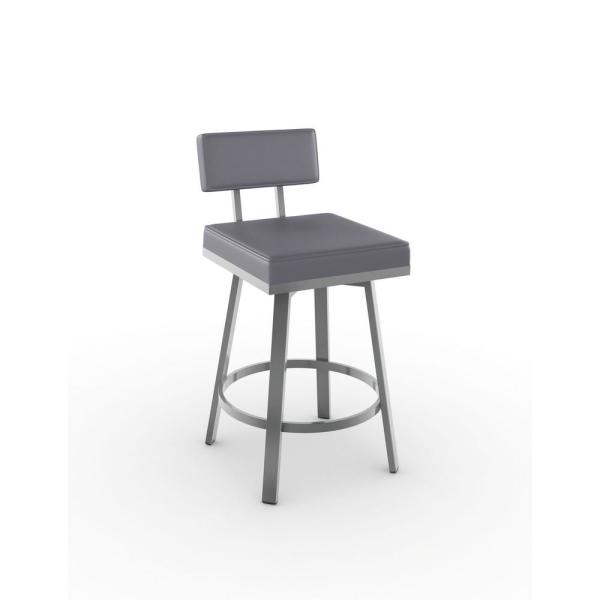 Amisco Staten 26 in. Glossy Grey Metal Cold Grey Polyurethane Counter Stool