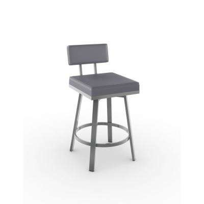 Staten 26 in. Glossy Grey Metal Cold Grey Polyurethane Counter Stool