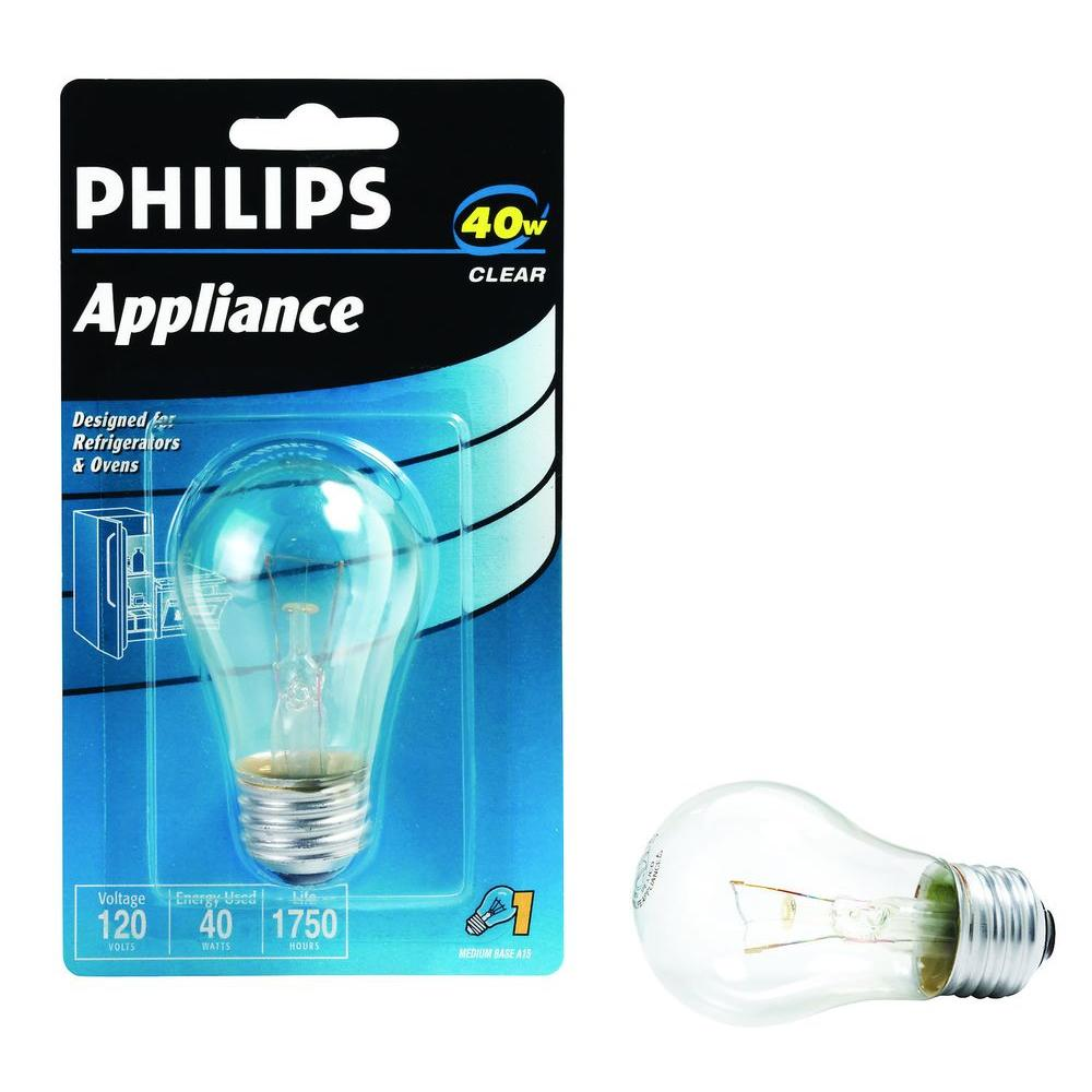 40-Watt A15 Incandescent Clear Appliance Light Bulb-416768 - The ...