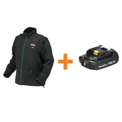 Men's Large Black 18-Volt LXT Lithium-Ion Cordless Heated Jacket (Jacket-Only) with BONUS 2.0Ah Battery