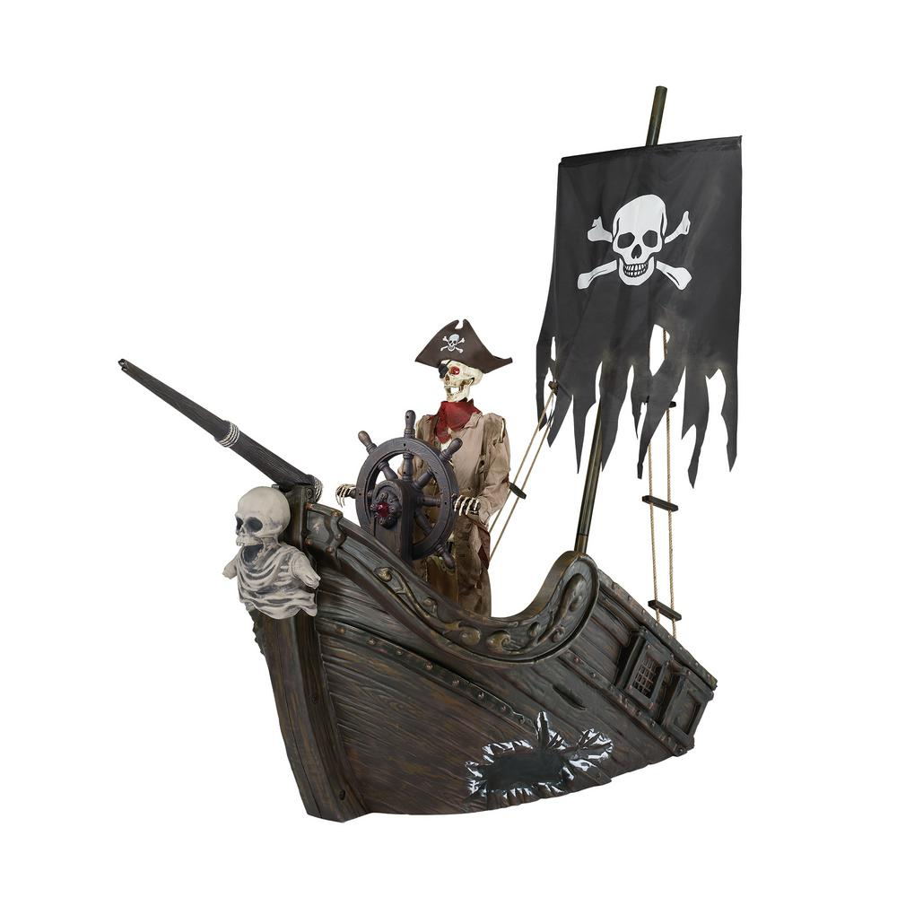 Home Accents Holiday 116 in. Pirate Ship with Animated Steering Wheel