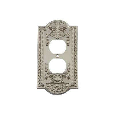 Meadows Switch Plate with Outlet in Satin Nickel