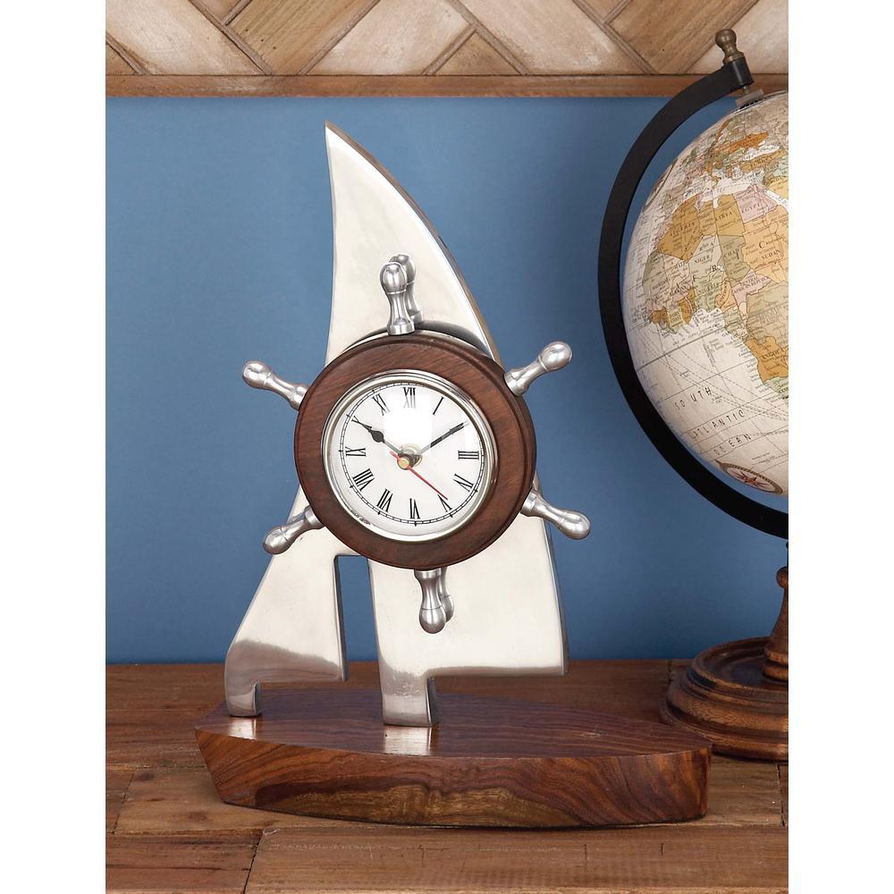 13 in. x 10 in. Aluminum Boat Table Clock