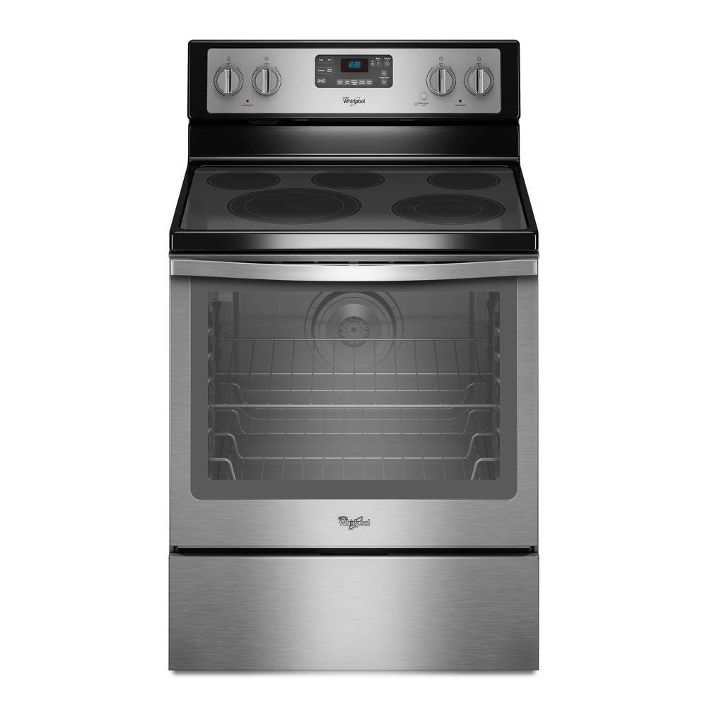 Whirlpool 6 4 Cu Ft Electric Range With Self Cleaning Convection Oven In Stainless