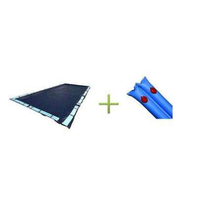 18 ft. x 36 ft. Dark Blue Rectangular In Ground Winter Pool Cover with Water Tubes